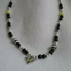 Bee charm beaded necklace